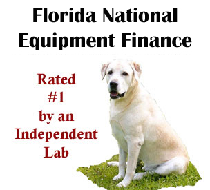 image of yellow lab with text stating Floria National Equipment Finance rated number one by an independent lab.